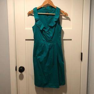 Green Ruffle V Neck Dress